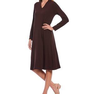 Eileen Fisher Brown Midi Dress A-Line Work/Office